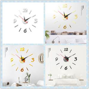 Grand bricolage Nombre horloge murale 3D miroir autocollant moderne Home Office Decor Art Decal design moderne grande taille horloge murale cadeau unique