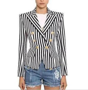 piste Halloween cadeau pour la fête d'Indépendance heureux vacances cou Manches longues revers à double boutonnage de Costumes Striped Pocket Femmes