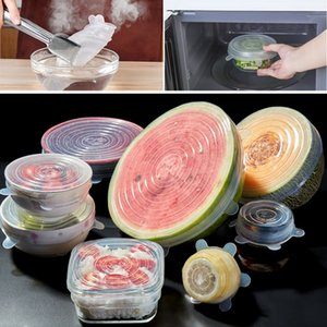 6 шт Силиконовых Stretch Люки еда обруча многоразовой Герметичная еда Wrap Covers Хранение Свежего Seal Чаша кухня Посуда посуды