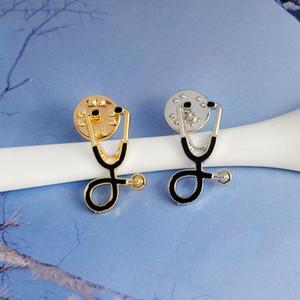 Bonito Tie Tack estetoscópio broche para a enfermeira Jóias Médico Broach presente Unisex Medical School GraduationButton lapela Pins