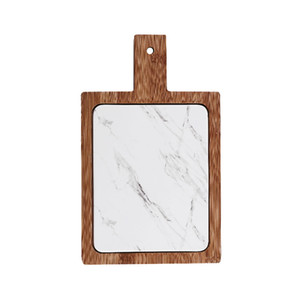 White Marble Texture Cheese Board with Bamboo Tray Rectangular Porcelain Serving Platter for Steak Charcuterie Artisanal Breads