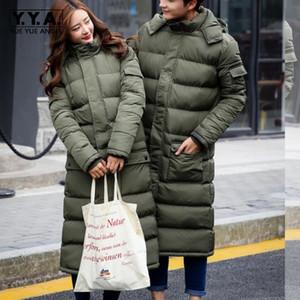 Los nuevos Mens caliente capas largas de señora Cotton chaqueta acolchada caliente capa encapuchada Parkas Abrigo de invierno Abrigo Verde Negro 3XL Tamaño