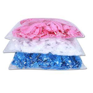 heiße 100pcs / lot Einwegkopfbedeckung Dusche Caps wasserdicht One-Off Elastic Bad Hat Dusche Klar Salon Badekappe Hotel T2I5909