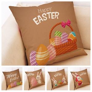 Happy Easter Pillowcase dos desenhos animados poliéster rami Sofá capa de almofada fronha de almofada Coelho sofá do escritório Assento Almofadas T2I5740