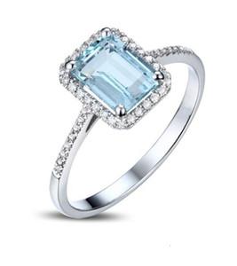 Kadınlar hakiki Aquamarine Yüzük Romantik Düğün Nişan Güzel Takı Y19061203 için Mavi Topaz Gemstone Rings