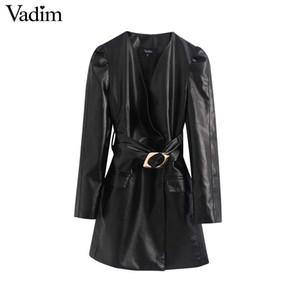 Vadim женщины стильные слоеного рукав мини-платье PU кожа V шеи ремень дизайн карманы женская мода Повседневные платья vestidos QD098