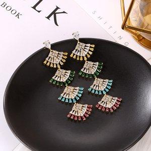 Marken-Designer-Mode Ginkgo biloba Ohrringe 925 Silber Lange Fan-Anhänger-Ohrring für Frauen Luxuxhochzeits-Kristallschmucksachen