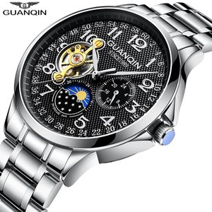 GUANQIN Men Mechanical Watch Business Automatic Clock Tourbillon 3ATM Waterproof Men's Watches Top Brand Luxury erkek kol saati