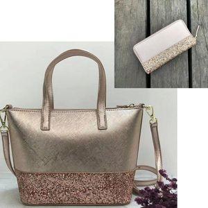 Фирменный дизайнер Glitter leather Сумки через плечо с блестками Patchwork в сочетании с Glitter Wallet
