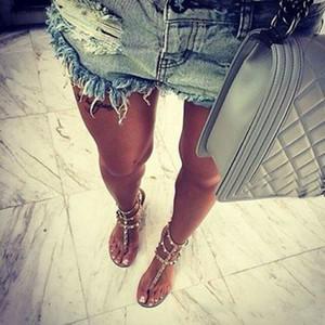Color Rivets Spiked Gladiator Flat Women Sandals Stones Studded Flip Sandal Big Size Designer Women's Cheap Shoes Summer