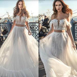 Dos piezas de los vestidos de boda de playa 2020 Hombro longitud del piso del cordón de Boho Vestidos de novia Dimitrius Dalia atractivo del vestido del traje de novia