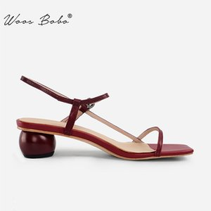 Gladiator Red Retro Sandals Mulheres Praça Toe Geometric salto Projeto Salto Alto Mulheres 2020 Verão New Sexy banda estreita Shoes