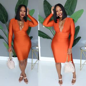 2020 Summer Slim New Spring vestito delle donne V-Neck maniche lunghe solido Sexy Colore benda Night Club Partito fodero del mini abiti GL898