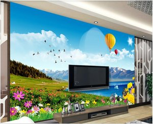 3d landscapes wall custom mural wallpaper Blue sky and white clouds snow mountain meadow TV background wall 3d mural on the wall stickers