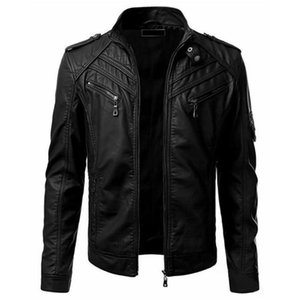 Mens Biker Moto Jacket Stand Collar Motorcycle Faux Leather Casual Jackets Fashion Male Black PU Coat Long Sleeve Large Size 4xl