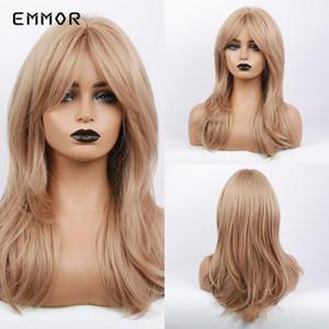 EMMOR uzun dalgalı Orta sarı saç peruk Siyah Beyaz kadınlar Için patlama Ile günlük kullanım ısıya dayanıklı sentetik Cosplay Lolita peruk