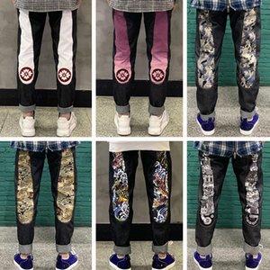 20 Mens Badge Rips Stretch Black Jeans Fashion Designer Slim Fit Washed Motocycle Denim Pants Panelled Hip HOP Trousers 27-40