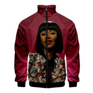 Cardi B 3D печати Zipper Sweaahirts Личность женщин людей Unisex Стенд Воротник одежды Мода Cacual с длинным рукавом