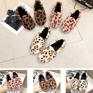 2020 Студент случайная ленивая меховой обуви женщин с низкой круглой головой плоской леопард плюс бархат хлопок обувь зима домашней одежды