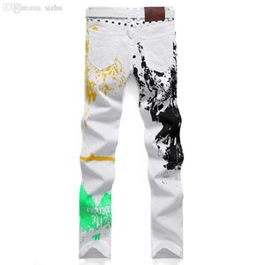 Atacado-2016 New Jogging pintado Jeans Brand Jeans Men homens heterossexuais Calça Casual Denim Trousers Micro-bomba homens tamanho 28-46