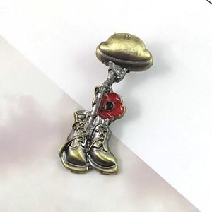 Casque Fusil Bottes et de bronze rouge de fleur de pavot Lapel Badges vintage du jour du Souvenir Jour de l'Armistice Brooch Restez à l'écart de la guerre Bijoux