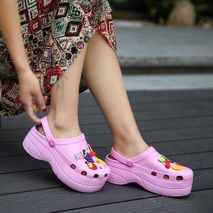 Praia Sandals Flip Flop Mulheres Verão Croc tamancos Slip On Platform Garden Casual Água do Aqua de Natação clássico Sapatos aumento da altura