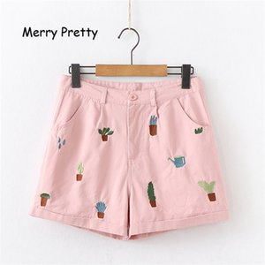 Merry Pretty Women Cartoon Embroidery Pink Shorts 2019 Summer Sweet Style Cotton Straight Short For Femme Casual Pockets Shorts
