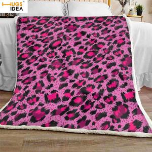 HUGSIDEA 2020 Rosa del ghepardo della stampa del leopardo morbide coperte di coperta del tiro Sherpa Fleece Blanket delle donne Copriletti peluche per Letti