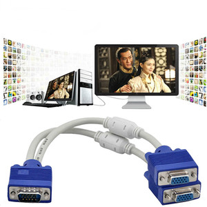 Computer to 2 Monitor VGA Splitter Cable Video Y Splitter 15 Pin Male to Female Two Ports VGA Monitor Cable