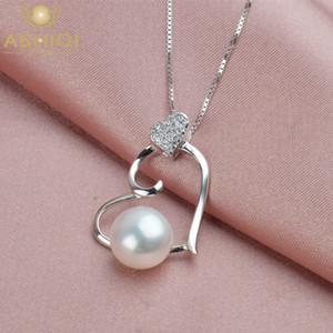 ASHIQI Collana del cuore dell'argento sterlina 925 perla naturale d'acqua dolce per i monili a catena donne regalo