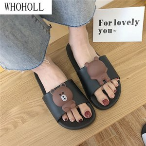WHOHOLL Women Slippers Cute Cartoon Bear Sandals Summer Fashion Slip On Beach Flip Flops Women Indoor Bathroom Flat Slides