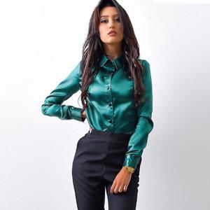Fashion-MOARCHO Frauen Seidensatin Bluse Knopf Revers Langarm Shirts Damen Büroarbeit elegante weibliche Top-Qualität blusa