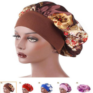 New Fshion Women Satin Night Sleep Cap Hair Bonnet Hat Silk Head Cover Wide Elastic Band Shower Cap . a0663
