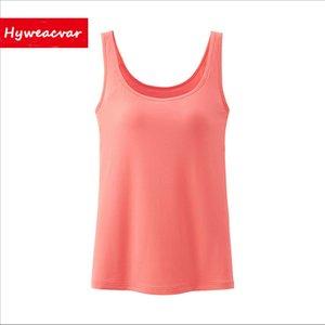 Hyweacvar Tanques Das Mulheres de Verão Camisola de Fitness Uma Camiseta Top 100% Algodão Singlet Com Bult-no Sutiã Básico Tanque Y19042801
