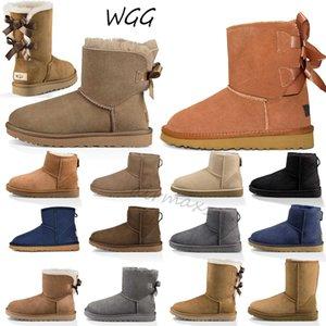 Nouveau Designer Femmes Hiver Neige Bottes Australie Classic bottes courtes cheville genou Bow fille MINI Bailey Taille Boot 35-41