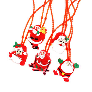 2018 LED Christmas Light Up Flashing Necklace Niños Niños Glow up Cartoon Santa Claus Colgante Fiesta Navidad Vestido Decoraciones Regalos XD20055