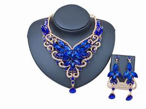Maravilhoso de alta qualidade frete grátis mais cor cristal diamante bide casamento senhora colar earings set (25.5yuyyr