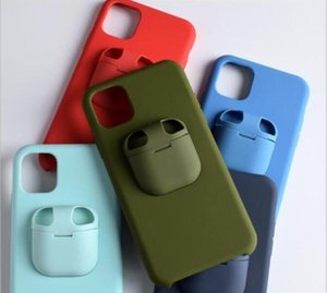 DHL 100PCS 2in1 Airpods Cover with Liquid Silicone phone Case for iphone 6 7 8 Plus Xs Xr 11 pro max iphone xs max Back cover