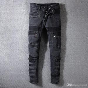 Mens gefaltete dünne schwarze Jeans-Modedesigner-Falten Panelled Reißverschluss-Tasche Fracht Slim Fit Motorradfahrer Hip Hop-Denim-Hosen 1057