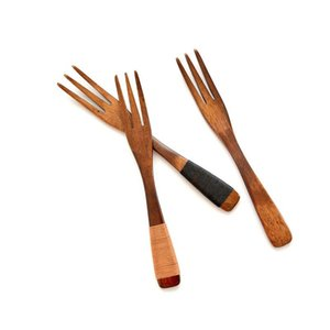 10pcsFruit Forks Tableware Dinner Wooden Cutlery three Prongs zhennan Plant Paint Phoebe Children Safety Flatware Reuse 3 Styles