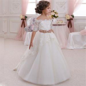Neue Blumen-Mädchen-Kleid für Hochzeit, Weiß, Elfenbein Appliques Ballkleid mit kurzen Ärmeln O-Ansatz Erstkommunion Kleider Vestidos Longo