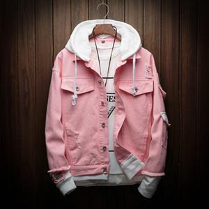 mens 2019 lüks tasarımcı giysi kapüşonlu kot ceket erkekler düz renk gevşek ceket moda tasarımcısı erkekler rahat kot ceket S-3XL