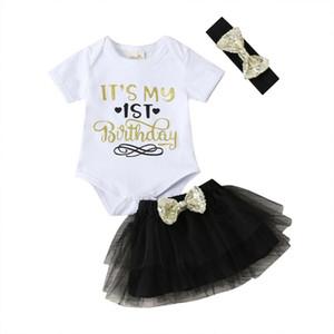 Newborn Baby Girl Outfit Abbigliamento per bambini 3 Pz Set 1st Birthday Pagliaccetto Manica Corta Tuta paillettes Bow Nero Tutu Gonne + fascia
