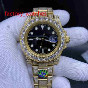 Vendita calda piena di diamanti della vigilanza Sweep intoppi Movimento meccanico automatico di 3 colori faccia Big lunetta diamanti di lusso del Mens Orologi 40MM