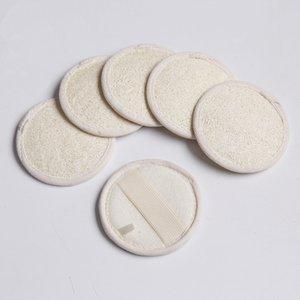 8 * 8cm forma redonda natural de lufa piel del cojín del depurador Esponja de baño Ducha Exfoliante Cuerpo de la cara del baño del cojín FY6104
