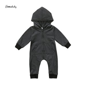 Emmababy Kids Baby Boy Hot Infant Zippers Long Sleep Colors Preto