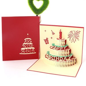 3D Hollow Handmade Greeting Cards Creative Birthday Cake Greeting Card High Quality Paper Cards for Kids