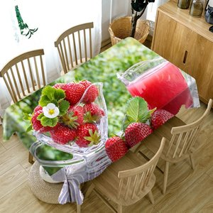 Fresh Strawberry Print Table Cloth Pastoral Style Rectangle Polyester Tablecloth