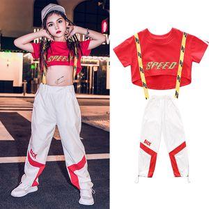 Filles Hip-Hop Dance Costumes pour enfants Les enfants à manches courtes Hauts Pantalons Hiphop Salle de bal Jazz Vêtements Dancing Stage Tenues SL2111