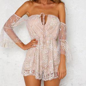 38# Women Sexy Bodysuit Summer Beach Clubwear Elegant Sequin Rompers Women Jumpsuit Elegant Playsuit Fashion Combinaison Femme T200702